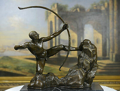 "Signed A. Bourdelle. Bronze Statue man w/ bow ""Hercules the Archer"" Greek Myth"