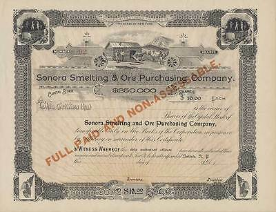 Stock Certificate - Sonora Smelting & Ore Purchasing Company
