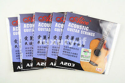 5pcs Alice A203 Acoustic Guitar Strings Stainless Steel Strings 2nd String 015