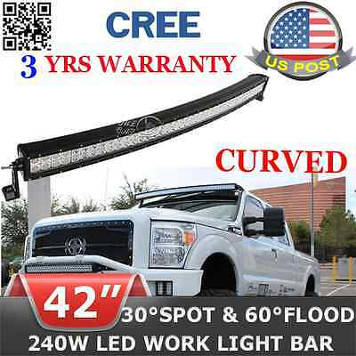 240W 40 inch LED Light Bar Combo Beam Curved Work Offroad Truck Boat SUV cree RA