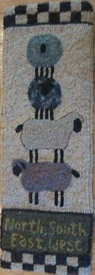 Primitive Rug Hooking Pattern Hooked North South East West Sheep Linen