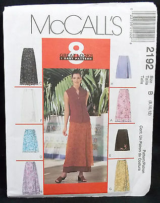 McCalls Pattern #2192 Misses Wrap Skirts 2 Lengths w/Overskirt Size (8-10-12)