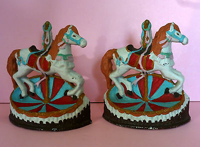 2 Old Cast Iron Carousel Horse Bookends or Doorstops