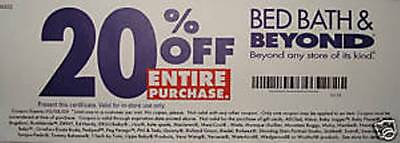 Bed Bath & and Beyond 20% Off ENTIRE PURCHASE expires 6/8/15