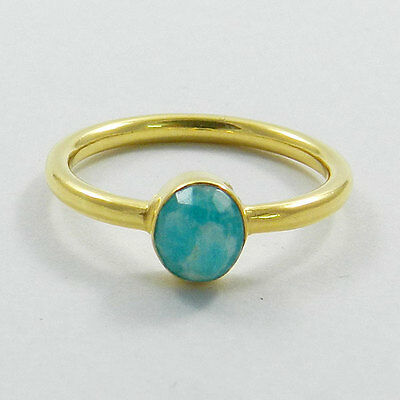 925 pure silver 18k Gold vermeil Natural Amazonite Gemstone Stackable Ring