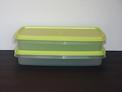 Tupperware 2 Stack-Stor Storage Slim Containers School or Lunch Wasabi Seals New