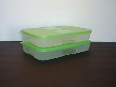 Tupperware Freezer Mates Set of 2 Containers 2.25 cup Green Seal Freeze NEW