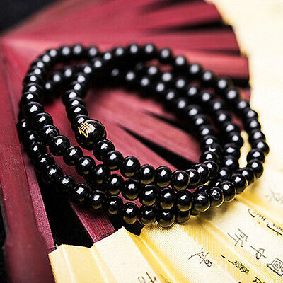 Sandalwood Buddhist Buddha Meditation 6mm*108 Prayer Bead BlackBracelet/Necklace
