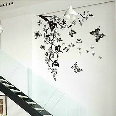 Floral Butterfly Flower Vine Wall Stickers Decor Art Room Vinyl Decal