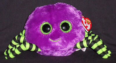 "TY BEANIE BOOS BOO'S - CRAWLY the 6"" PURPLE SPIDER- MINT with  MINT TAGS"