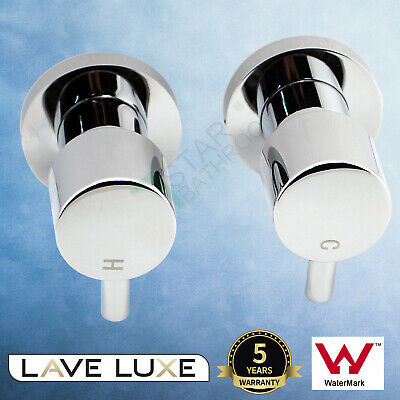 Bathroom Shower Hot Cold 1/4 Turn Twin Top Taps Set Brass Watermark Wall Mounted