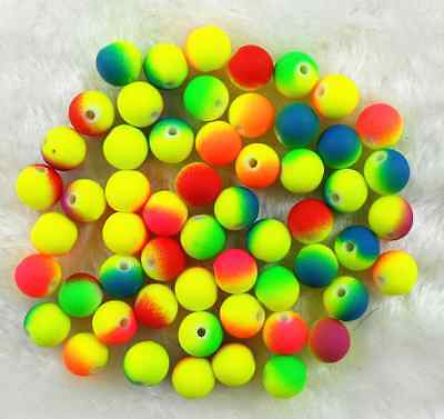 100Pcs 8mm Mixed Color Matte Rubber Neon Round Acrylic Spacer Loose Beads