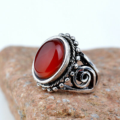 New Woman Man Silver Retro Red Agate Stone Party Cocktail Pub Rings Size:8