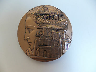Deco French Bronze Medal P.TURIN Exposition Paris MAP FRANCE 368 gr Pierre RARE