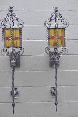 """Antique Pair  Stained leaded Glass Gothic Revival Wall Sconces Silvetone 50"""""""