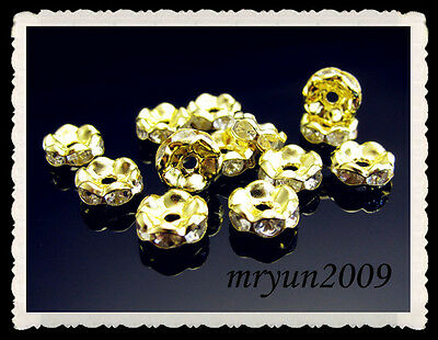 FREE 100PCS Jewelry Making Wavy Crystal Rondelle Spacer Beads Gold Silver 8mm