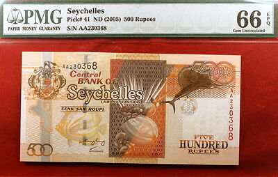 ND (2005) PMG Gem Uncirculated 66 EPQ P-41 Seychelles 500 Rupees