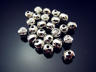 FREE LOT 100PCS Jewelry Design silver plate Acrylic Rose Small Spacer Beads 6mm