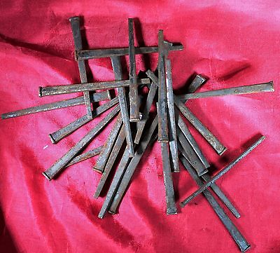 "LOT OF 25 -  ""OLD"" NOS SQUARE CUT STEEL NAILS, 3""  LONG"