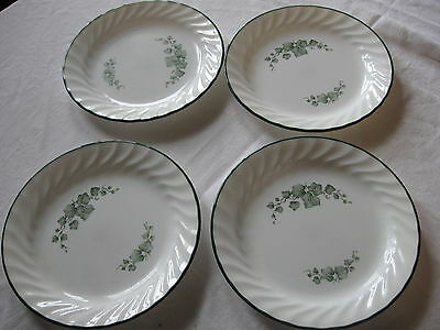 SET OF 4 CORELLE CALLAWAY PATTERN SMALL PLATES IVY DESIGN GREEN RIM WHITE SWIRL