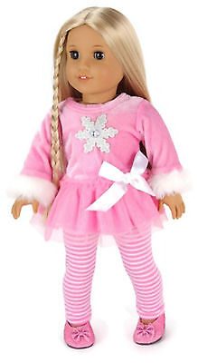 """Pink Snowflake Top & Striped Leggings made for 18"""" American Girl Doll Clothes"""