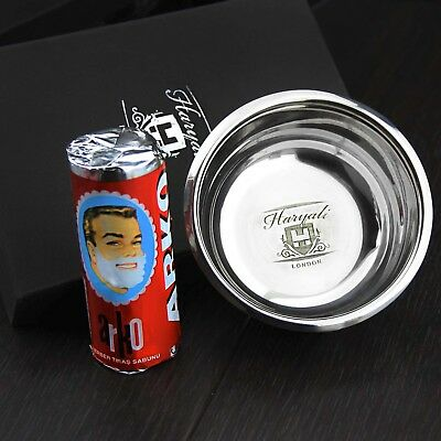 High Grade German Stainless Steel Polished Shaving Soap Bowl + Shaving Soap Stic