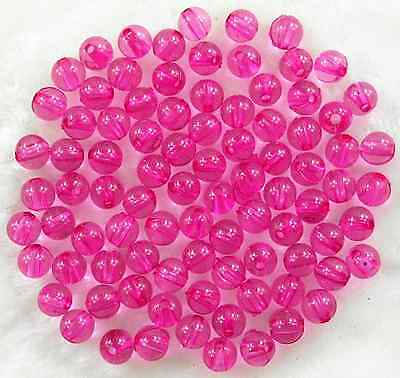 100Pcs 8mm Transparent Hot Pink Acrylic Round Spacer Loose Beads