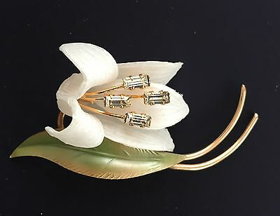 "Vintage Brooch - 1940's White Celluloid ""Lily"" pin with Diamante center"