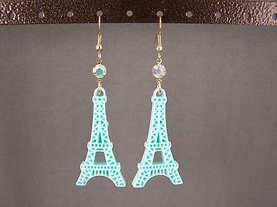 "Turquoise La Tour Eiffel Tower dangle 2.75"" long earrings Paris France travel"