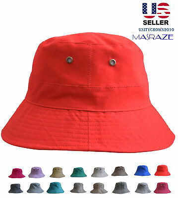 Bucket Hat Cap Cotton Men / Women Fishing Boonie Brim Sun Safari Summer Camping