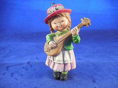 "VINTAGE 3 1/4"" LITTLE GIRL WITH GUITAR"