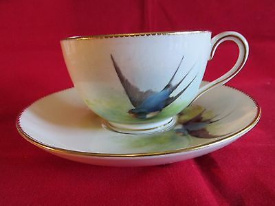 Rare Royal Worcester Blue Swallow cup and saucer signed Powell