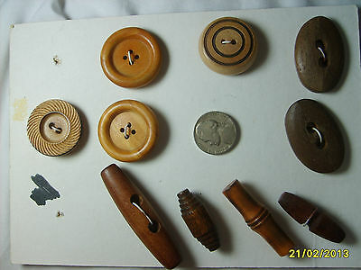 VINTAGE LOT OF 10 WOOD BUTTONS ~ PRE 1970's ~ 8 SOLID WOOD w NO METAL SHANK