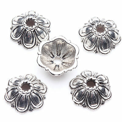 25pcs Tibet silver Hole Flower Engrave Bead Caps Charm Beads Cap Jewelry 10x4mm