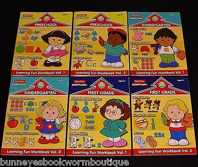 Lot 6 FISHER PRICE Little People LEARNING WORKBOOKS New PRE-S Kindergarten FIRST