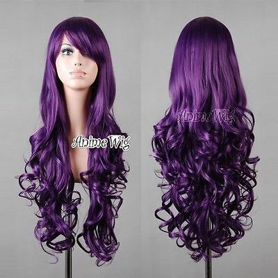 Fashion Womens Purple Long Curly Wavy Anime Cosplay Party Wigs 80cm