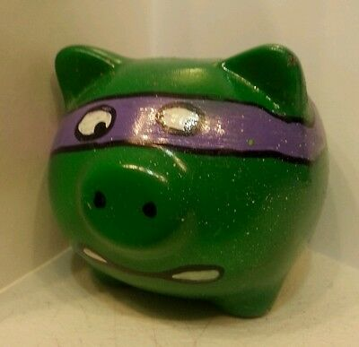 3 x 3 inch piggy bank hand painted green tmnt donatello  plastic stopper pig