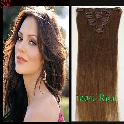 """Womens15"""" Clip In Real Human Hair Extensions 70g 7pcs Of Set Chestnut Brown"""