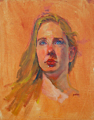 Original Portrait Oil Painting of a Young Blue Eyes Blond Woman by Fred Salmon