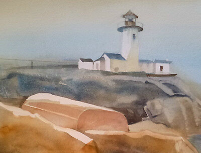 American Impressionist WATERCOLOR Betty MADDEN-WORK listed Illinois LIGHTHOUSE