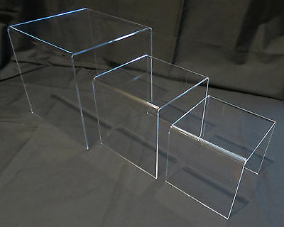 Clear Acrylic Product Display Stands set of 3 risers Lg