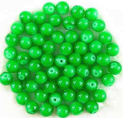 Free Ship 50Pcs 8mm Green Solid Glass DIY Craft Spacer Loose Beads