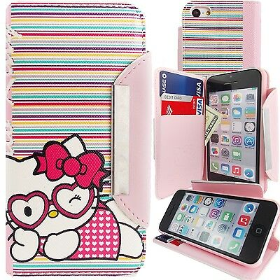 Pink White Hello Kitty PU Leather Stripes Wallet Case for iPhone 5C Card Cover