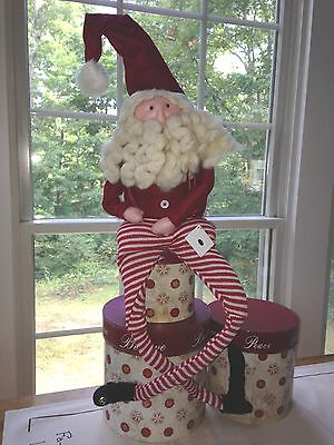 """Christmas Vintage Inspired - 28"""" SANTA WITH RED & WHITE PANTS - NEW Winter 2014"""