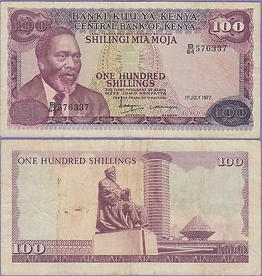 Kenya 100 Shillings Banknote 1.7.1977 Very Fine Condition Cat#14-D-6337