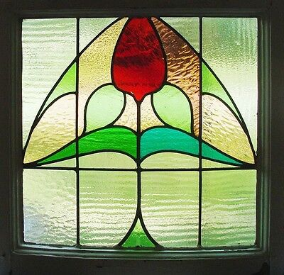 Antique Stained Glass Window Fancy Six color Ruby Tulip                    (908)