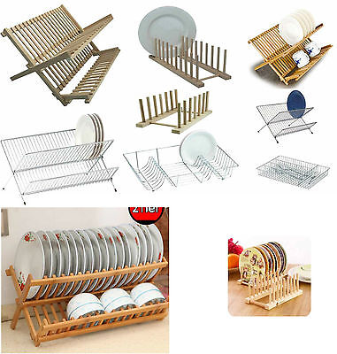 Foldable Dish Drainer Wooden Metal Chrome Wire Dinner Plates Rack Stand Holder