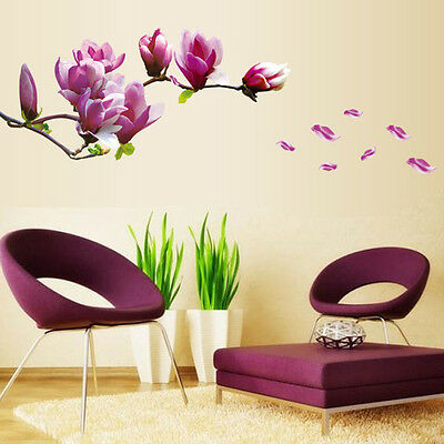 Magnolia Flowers Removable Art Vinyl Mural Home Room Decor Wall Stickers V1