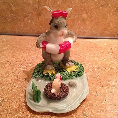 """CHARMING TAILS Fitz Floyd """"Come on in, the Water's Fine"""" Mouse figurine"""