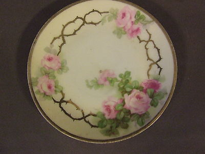 """Antique Royal Rudolstadt Prussia Gold Edge Handpainted Roses 6"""" Plate"""